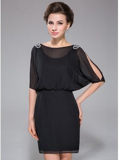 Sheath/Column Scoop Neck Short/Mini Chiffon Cocktail Dress With Beading Sequins (017041084) - JJsHouse