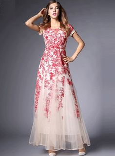 Embroidery Mesh Maxi Dress