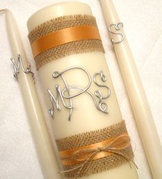 Burlap Wired Monogram Unity Candle Set, Initial Letters, Peach & Burlap Ribbon shown, Personalized in Wedding Colors Wedding Unity Candles, Unity Ceremony, Taper Candles, Wedding Ceremony, Wedding Colors, Wedding Ideas, Wedding Details, Wedding Stuff, Dream Wedding