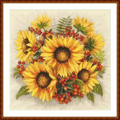 Bouquet of sunflowers with rowan digital cross stitch pattern Cross Stitch Tattoo, Cross Stitch Rose, Embroidery Kits, Beaded Embroidery, Sunflower Pattern, Fall Bouquets, Counted Cross Stitch Patterns, Digital Pattern, Beading Patterns