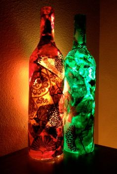 decoupaged lit wine bottles! Get them on Etsy by CuteLittleCanvases