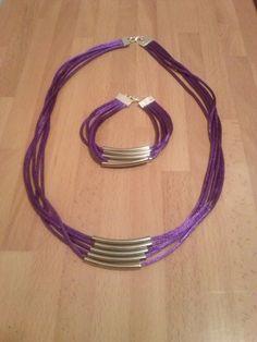 conjunto de collar y pulsera de cola de raton morado