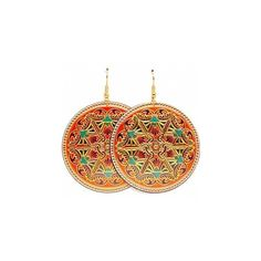 Estella's Large Coral Red Boho Style Floral Disc Earrings ($17) ❤ liked on Polyvore