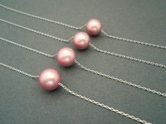 Pink pearl necklace bridesmaids gifts floating pearl by casamoda