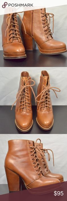 Seychelles Tan Funny Business Lace-up Booties 💁 Seychelles Funny Business Lace-up Bootoes, In new condition (only worn twice) very hard to find! Out of stock everywhere Seychelles Shoes Ankle Boots & Booties