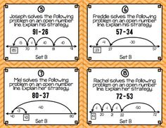Open Number Lines: Task Cards {Addition and Subtraction} - Modern Design Open Number Line, Number Lines, Number Line Activities, Math Games, Math Activities, Subtraction Strategies, Mental Math Strategies, Addition Strategies, Math Addition