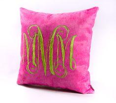 Libby Bunting's Monogram Pillow Design Azalea and Lime