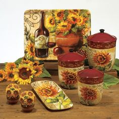 Gorgeous Sunflower Kitchen Decor Table Ware Tuscan Artistic Design Themed Kitchens