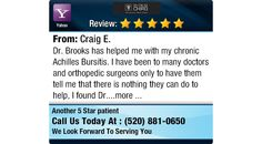 Dr. Brooks has helped me with my chronic Achilles Bursitis. I have been to many doctors...