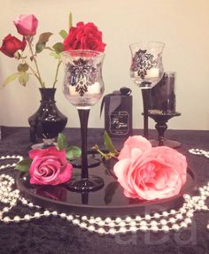 #roses #damask #candles #PartyLite #flowers #pink #tealights #votives #Shannathatflaminglady #photography #homedecor #forbiddenfruits