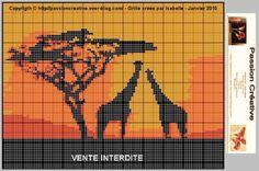 Grille gratuite point de croix : Afrique - Girafe