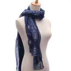 Navy Color Long Voile Stole Pashmina Soft Wrap Shawl Stripe Totem Chiffon Scarf - Gchoic.com