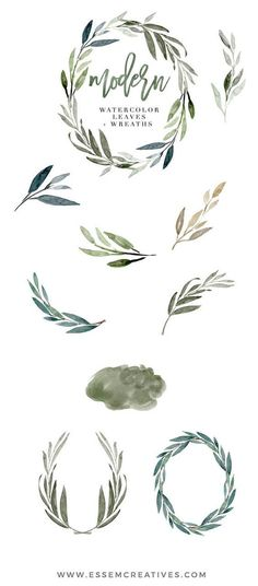 Watercolor Leaves Clipart, Modern Leaf Wreath, Green Branch, Eucalyptus Clipart, Garden wedding invitation, Rustic, Olive, >>> Learn more by clicking on the image #WeddingInvitation