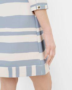 Two-tone striped tunic dress - Pale Blue | Dresses | Ted Baker UK
