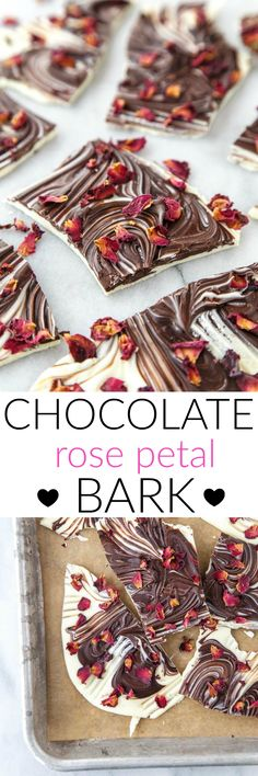 Dark Chocolate Bark swirled with White Chocolate and Rose Petals for your Valentine's Day dessert for two. @dessertfortwo