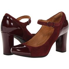 Clarks Loyal Peony in burgundy suede and patent leather
