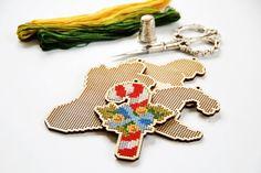 Set of 4 Wooden cross stitch blanks pattern, CHRISTMAS GIFT design, tree decoration ornament, embroidery borduren DIY gift
