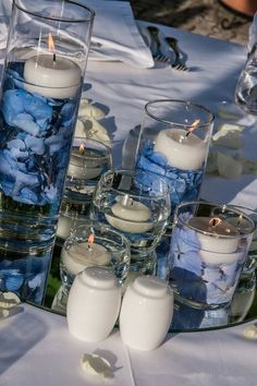 2014 navy blue beach wedding candles, navy blue table decor idea www.dreamyweddingideas.com