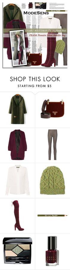 """Street Style by Modesens"" by modesens ❤ liked on Polyvore featuring Prada, Maje, Iris & Ink, Kobi Halperin, NOVICA, Stuart Weitzman, Christian Dior, Bobbi Brown Cosmetics and Nicki Minaj"