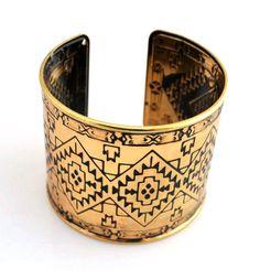 Tribal Engraved Cuff Bracelet