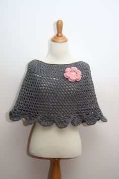 $29.99 for the whole thing .. gray caplet knitted shawl with pink knitted flower brooch