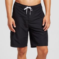 Men's Solid Swim Trunks Black Xxxl - Merona, Ebony