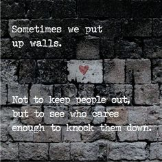Sometimes we put up walls not to keep people out, but to see who cares enough to knock them down.: