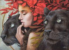 Fantasy Paintings, Animal Paintings, Fantasy Art, Black Artwork, Cool Artwork, Illustrations, Illustration Art, Animal Totems, Surreal Art