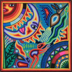 Sun and Moon Huichol Yarn art we bought while on vacation in Puerto Vallarta.