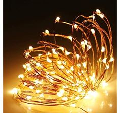 Shatchi 2m Long 20 Warm White LED Micro Rice Gold Copper Wire Indoor Battery Operated Firefly String Fairy Lights Bunch Wedding Party Christmas Decorations Home Bedroom Décor: Amazon.co.uk: Kitchen & Home