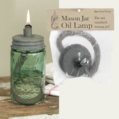 Mason Jar Oil Lamp Lid - Barn Roof - Lid Only-Measures 3 dia. and 2 tall. Fits any jar with standard Mason jar threads. Features a long, thick wick Mason Jar Projects, Mason Jar Crafts, Bottle Crafts, Diy Projects, Mason Jar Lids, Canning Jars, Bottles And Jars, Glass Jars, Diy Lampe