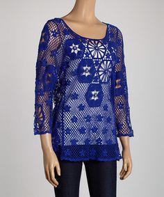Look what I found on #zulily! Blue Rhinestone Crocheted Scoop Neck Top #zulilyfinds