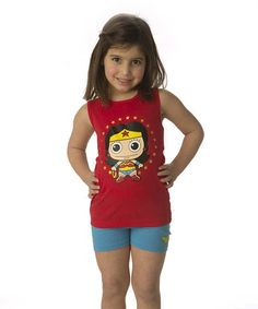 Another great find on #zulily! Red & Blue Wonder Woman Logo Tank & Shorts - Girls by Intimo #zulilyfinds