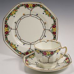 Royal DOULTON Art Deco / Crafts TRIO Arvon H.3838 Cup Saucer Tea Plate c1929