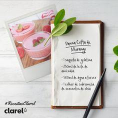 #ReceitasClarel  Terminar a refeição com uma sobremesa é algo que todos gostamos.  Experimente a nossa receita saudável de Panacota de Morango e delicie-se! Modo de preparação:  - Diluir a gelatina em 500ml de água a ferver;  - De seguida adicionar o leite de amêndoa;  - Bater bem a mistura com a ajuda de uma vareta de arames;  - Deitar o conteúdo numa taça grande ou em taças individuais;  - Levar ao frigorífico:  - No final, basta adicionar umas sementes de chia et voila!