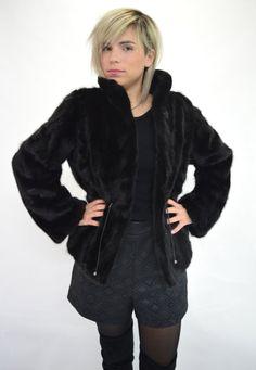 Real fur jacket, fur mink jacket, fur coat, black mink jacket ...