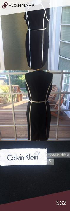 "Calvin Klein black and white dress.  Chic. Calvin Klein black and white dress.  Chic. Bust 38"". Waist 30"". Hips 37"". length 39"".  Very good condition. Chic. Calvin Klein Dresses"