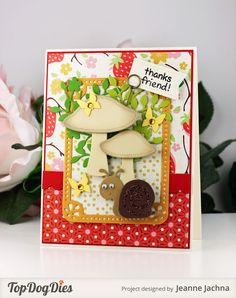 Jeanne Jachna: A Kept Life – Hello Friend! - 6/25/15.  (Top Dog Dies: Snail, Wildflower, Pocket Banner, Pocket Page Summer, Dotted Border.  Lawn Fawn stamp: Critters in the Forest)  (Pin#1: Gardening.  Pin+: Animals...).
