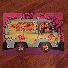 The Mystery Machine Postcard Scooby-Doo In very good vintage condition. Slight white showing on lower left corner. Cute Canvas Paintings, Small Canvas Art, Mini Canvas Art, Acrylic Painting Canvas, Scooby Doo, Aesthetic Painting, Aesthetic Art, Trippy Drawings, Art Challenge