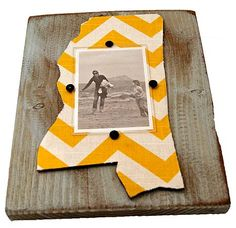 Mississippi Frame Yellow Chevron...we could do this with every state we've lived in :)