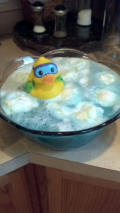 Rubber Ducky punch. Made it for baby shower...super yummy!!! I used Hawaiian punch berry typhoon, welches white grape juice, Canada Dry ginger ale, and pineapple sherbert.