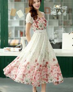 Bohemian Style Puff Sleeve Flower Printed Chiffon Dress-Dress-SheSimplyShops
