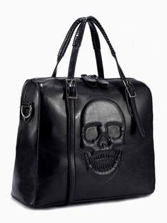 af5c56eeee8 Embossed Skull Box Tote Bag In Black - Choies.com Skull Purse, Tote Handbags