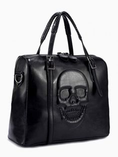 Embossed Skull Box Tote Bag In Black - Choies.com