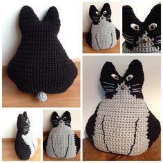 Zwart & grijs gehaakte kat/poes Syl, homemade bij @jufsas met patroon, free pattern cat crochet