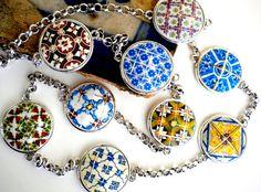 Portugal  Antique Tile Replicas NECKLACE 9 Azulejos from by Atrio,