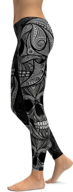 Show off your edgy style in these Ornamental Skull Leggings. The all-over skull print in ornamental style makes this leg fashion piece a fabulous sexy garment that can be styled in 'Oh so many ways'…T