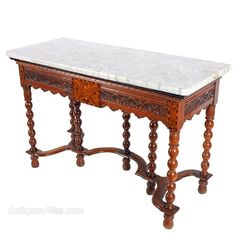 French Mahogany Console Table With A Marble Top Furniture