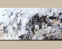 Blanco y negro de pintura, arte abstracto, pintura, pintura en lona, pintura Original acrílico pintura moderna pintura abstracta