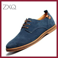 2017 fashion men casual shoes new spring men flats lace up male suede oxfords men leather shoes zapatillas hombre size 38-48